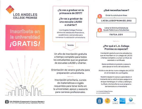 ¡Inscríbete en La Universidad Gratis! con Los Angeles College Promise